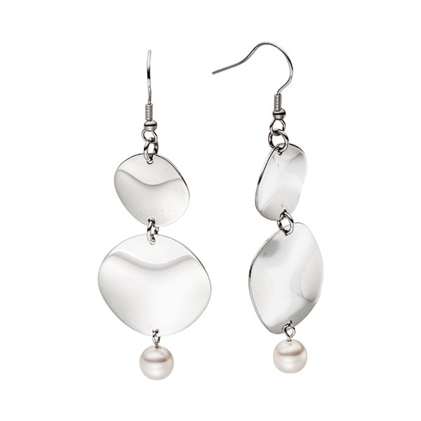 Ohrringe aus Edelstahl, Perle + 2 wellige Platten