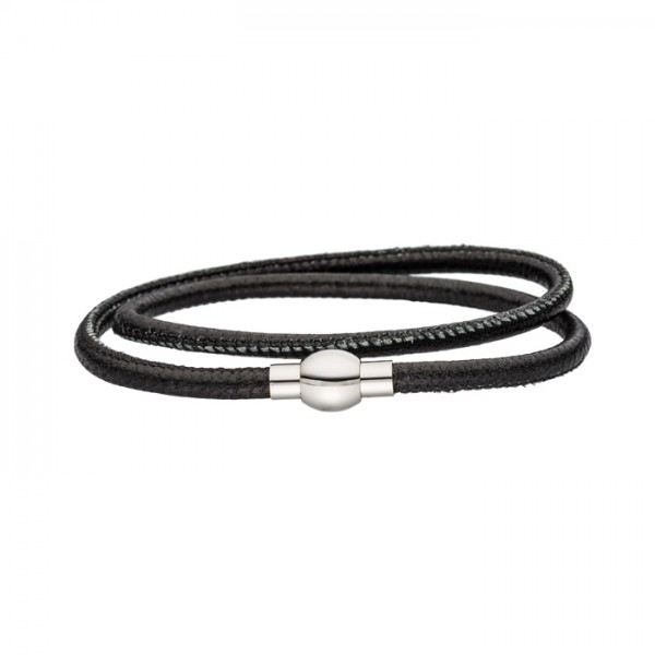 Nappalederarmband schwarz Magnetverschluss