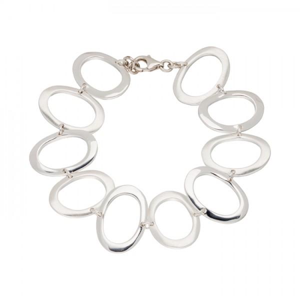 Silberarmband ovale Glieder matt/poliert
