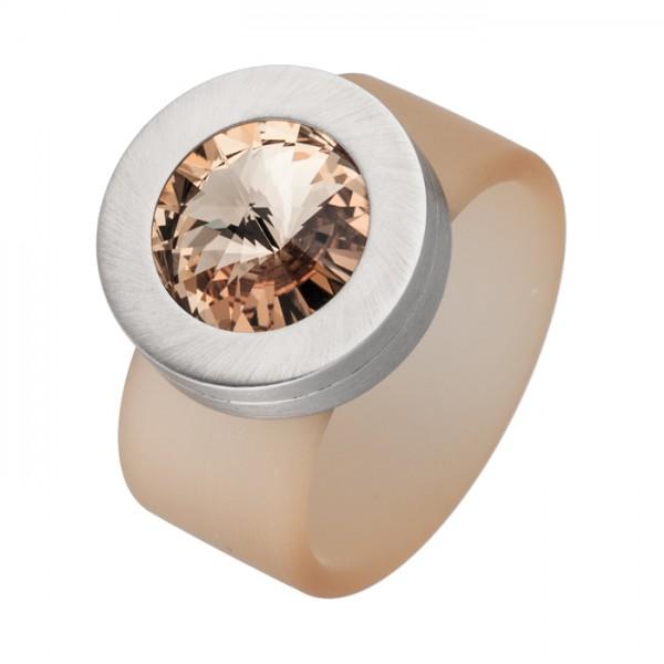 PVC Edelstahl Ring champagner, champagner Swarowski Stein