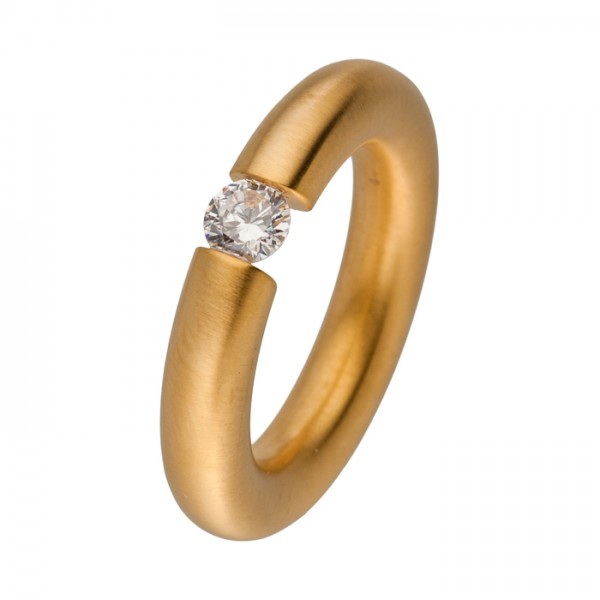 Design Edelstahlring Gold mit Zirkonia