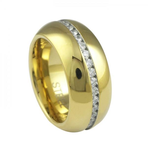 Edelstahlring Gold PVD 8 mm Zirkonia Jewel Chain