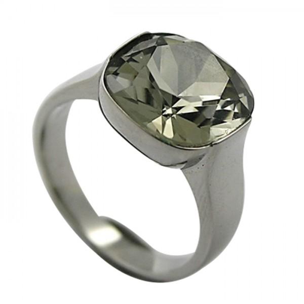 Edelstahlring mit großem Swarovski Kristall