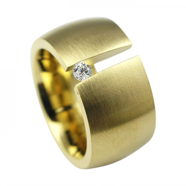 Edelstahlring matt, Gold-PVD Spannring + Zirkonia