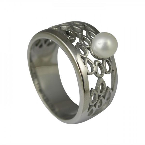 Edelstahlring Tropfen Schnittmuster mit Perle