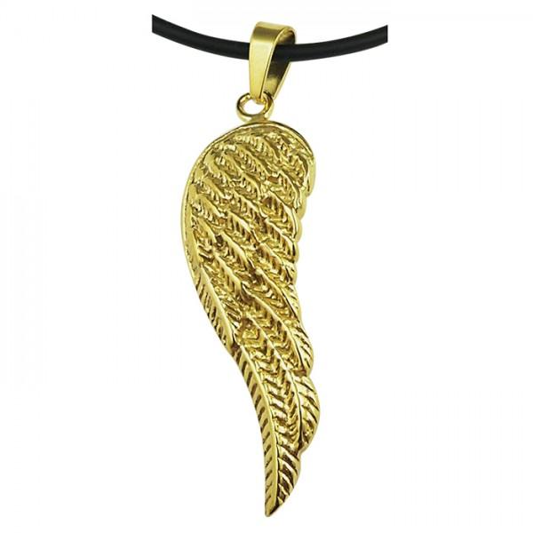 Edelstahlanhänger Flügel PVD Gold poliert/Muster